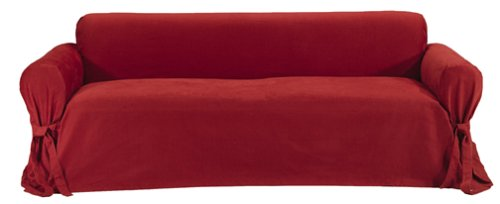 Classic Slipcovers Brushed Twill Sofa Slipcover, Red