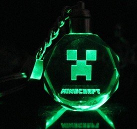 Minecraft Creeper Led 7 Color Light Keychain Keyring Cool Round by Minecraft Creeper