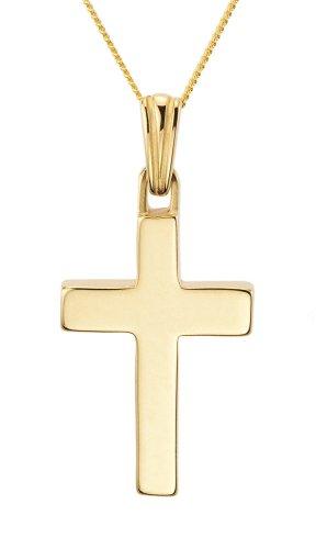 Ladies' Plain Necklace, 1.6g, 9ct Yellow Gold Curb Chain, 46cm Length, Model 9-CX020