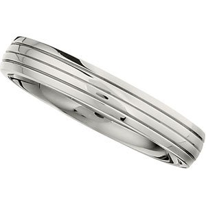 4 mm Comfort Fit Titanium Three Grooved Half Dome Ring Size 9