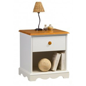 Buy Cheap Beaux Meubles Pas Chers Rustic Oak 1 Drawer Bedside Table White And Honey Bedside Tables Deals