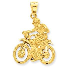 14k Dirt Bike Rider Pendant - Measures 36x23mm - JewelryWeb