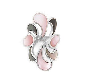 Sterling Silver Gray and Pink Shell Inlay Ring / Size 6