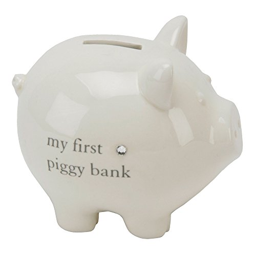 Ceramic Ivory Piggy Money Box with Diamante Crystal By Haysom Interiors - 1
