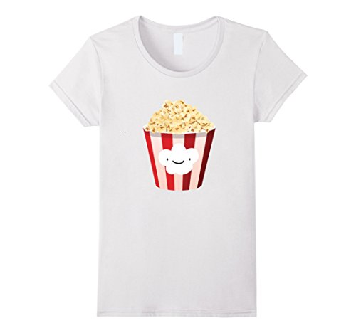 Women's Popcorn - Funny Last Minute Halloween Costume T-Shirt Large White (Last Minute Halloween Costume)