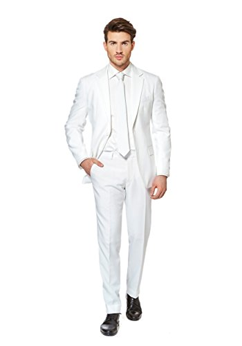[OppoSuits Men's Knight-Party Costume Suit, White, 46] (Do It Yourself Costumes 2016)