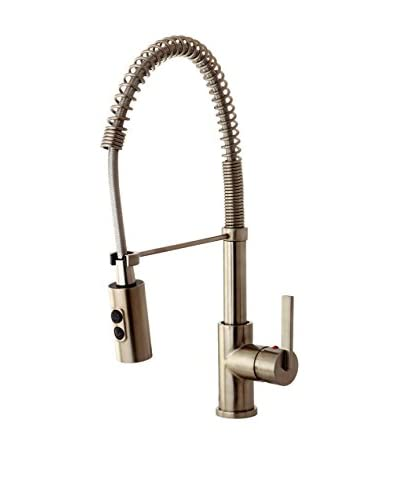 Kingston Brass Kitchen Faucet With Pull-Down Sprayer, Satin Nickel
