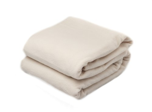 Cream Fleece Blanket - Easy Care Throw (LARGE Double, 225x254cm) By Rejuvopedic