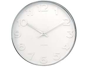 Karlsson Wall Clock Mr. White Numbers Steel Polished, 20-Inch