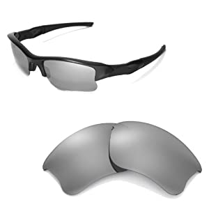 Walleva Replacement Lenses for Oakley Flak Jacket XLJ Sunglasses - Multiple Options Available (Titanium Mirror Coated - Polarized)