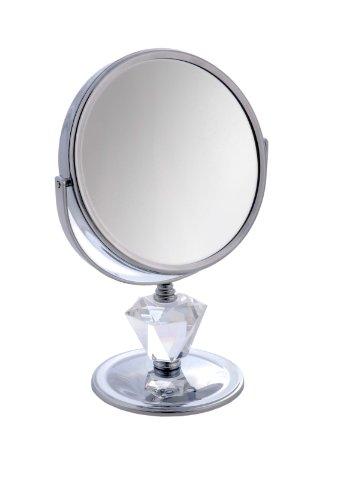 Danielle 5x Magnification 15 cm Diameter Chrome/Crystal Decoration Pedestal Mirror - 27 cm High