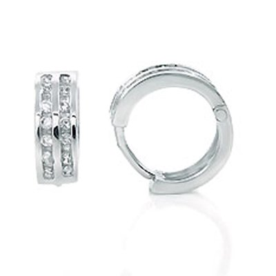 Sterling Silver Double-Liner Huggie Earrings, Amazingly Adorned with Two Rows of High-Grade Diamond-Colored Round-Cut Cubic Zirconia, Top Quality Finish, Comes with a Free Special Gift Pouch, Special Discounted Price