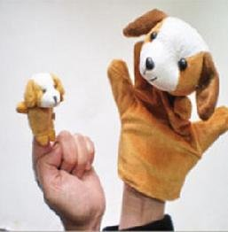 Large and small set of 2! [1 finger & five animal finger puppets: bear / Bunny / dog / Pig / Frog Panda cow / rat / Hippo / duck (canine)