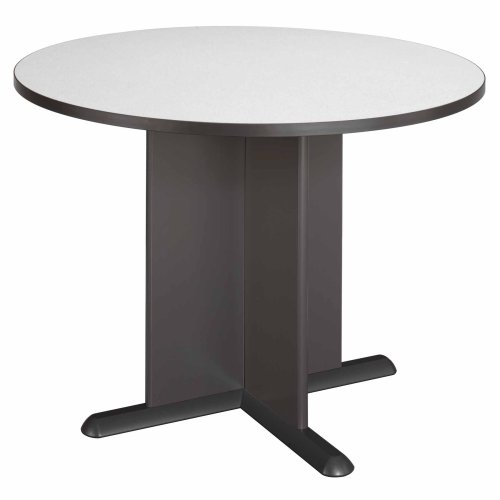 Bush Furniture Round Conference Table, White Spectrum Paper/Slate