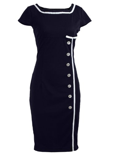 Nautical Pinup Rockabilly Vintage Retro Pencil Women's Dress Navy Black