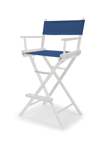 Telescope Casual Heritage Bar Height Director Chair, Blue with White Frame