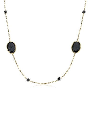 Riccova 14K Gold Plated CZ Detailed Blue Sand Stone Station Chain Necklace