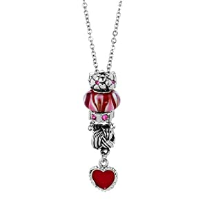 Pugster Garnet Red Murano Glass Rose Pink Spacer Wheel Bead Dangle Heart Love Pendant Necklace Fits Pandora Charm Bracelet