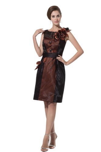 Cocktail dresses with straps evening dress 4359 20w brown and black