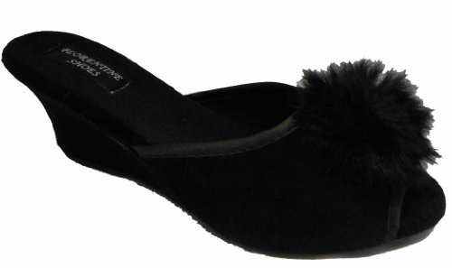 NEW Ladies SEXY Boudoir Wedge Mule Slippers BLACK UK 5