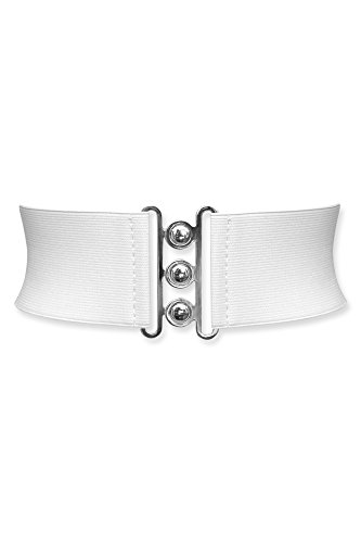 Black Butterfly 3 Inch Elastic Waist Clasp Belt (White, US 6 - 8)