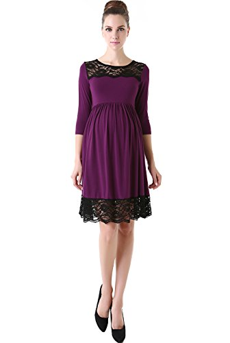 "Momo Maternity ""Meadow"" Lace Trim Empire Waist Skater Dress - Eggplant L front-1019686"