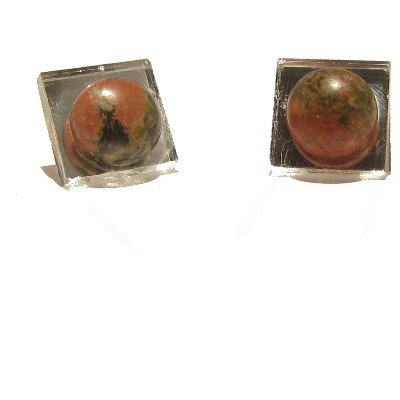 Unakite Earrings 04 Stud Mirror Green Pink Crystal Healing Square Stone 0.5