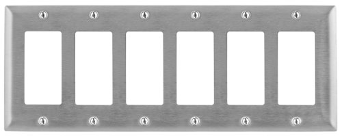 Bryant Electric SS266 Metallic Wallplate, 6-Gang, 6 Decorator/GFCI Openings, Standard Size, 302/304, StainlessSteel decorator