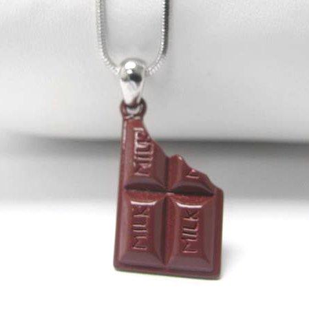 "Half-Eaten Milk Chocolate Bar Pendant 17"" Snake Necklace"