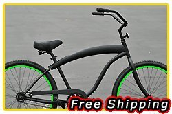 Free Shipping! Fito Modena Sport 1-speed Men - Matte Black with Neon Green rims, 26
