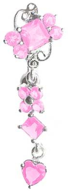 Lt Pink Sexy Unique Gem Dangle Cluster 925 Sterling Silver Reverse Top Mount Belly Button Navel Piercing Bar Body Jewelry Ring 14G