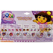 Dora The Explorer Sticker Earrings & Ring Set - 7 rings & 14 stickers - 1