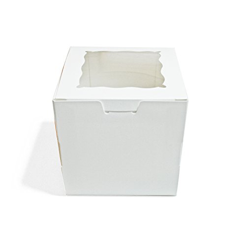 White Single Cupcake Boxes With Inserts And Gift Tags, Set Of 6, 4X4 Inches front-935544