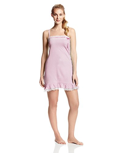 Bottoms Out Women'S Lace Trim Nightie, Light Pink, Large