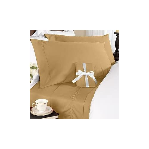 Brown (Bronze) Plain - Solid Double Size Size SIX piece [6] Bed Sheet Set (Deep Pocket) with FOUR [4] Pillow cases. 600 Thread Count 100% Long Staple Egyptian Giza Cotton with Swiss Sateen Finishing Coupon 2015