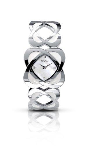 Seksy by Sekonda Hidden Hearts with white Enamel Ladies Bracelet Watch 4565