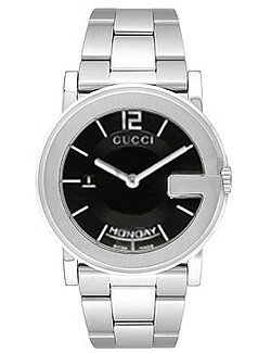 Gucci 101 'G' Mens Black Dial Steel Watch YA101305 - Buy Gucci 101 'G' Mens Black Dial Steel Watch YA101305 - Purchase Gucci 101 'G' Mens Black Dial Steel Watch YA101305 (Gucci, Jewelry, Categories, Watches, Men's Watches, Dress Watches)