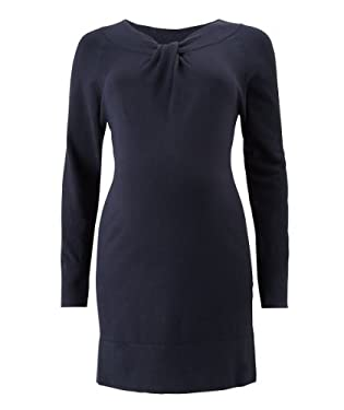 Blooming Marvellous Maternity Navy Knitted Knot Neck Dress