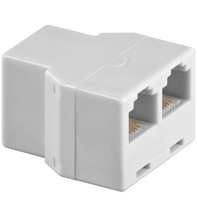 Telefon Adapter RJ12/6P6C 1xF-Buchse 2xF-Buchse, weiß