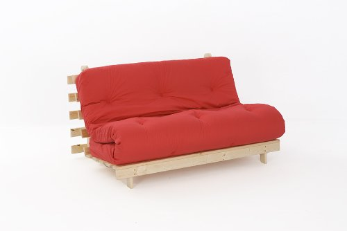 4ft6 (135cm) Double Wooden Futon with RED Mattress