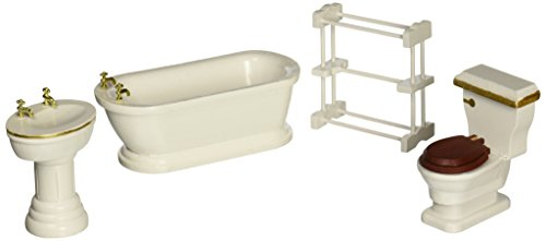 Melissa-Doug-Classic-Wooden-Dollhouse-Bathroom-Furniture-4-pcs-Tub-Sink-Toilet-Towel-Rack