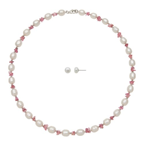 6-7 mm White Freshwater Pearl and Pink Tourmaline Necklace with Stud Earring Set, Free Shipping and Gift Box