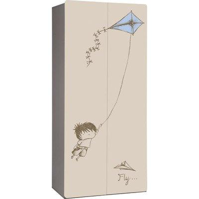 Kleiderschrank 2PIR, 216,2 cm H x 96,2 cm B x 57,6 cm T Ausführung: Junge mit Drachen