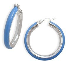 Baby Blue Sterling Silver &#038; Enamel Hoop Earrings