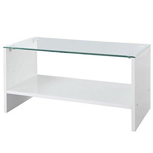 日本インテリア 強化ガラス製 センター テーブル 鏡面仕上げ 鏡面ガラステーブル ホワイト