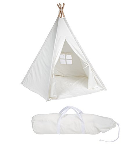 Buy 6' Canvas Teepee With Carry Case - Customizable Canvas Fabric - By Trademark Innovations (White)