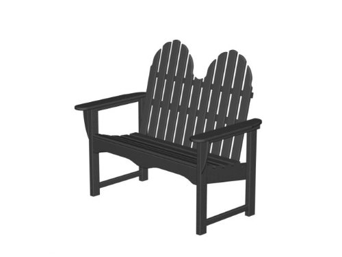 Recycled Earth-Friendly Outdoor Patio Double Bench Adirondack Chair - Black
