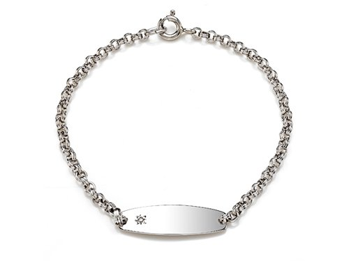 Sterling Silver Children ID Bracelet with Diamond LIFETIME WARRANTY