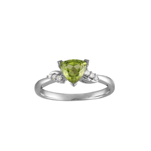 Peridot & Diamond Shoulders Ring in 9ct White Gold, Finger