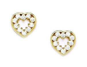 14ct Yellow Gold CZ Heart Screwback Earrings - Measures 8x8mm